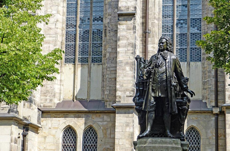 The monument of Johann Sebastian Bach in front of the Thomas church in Leipzig