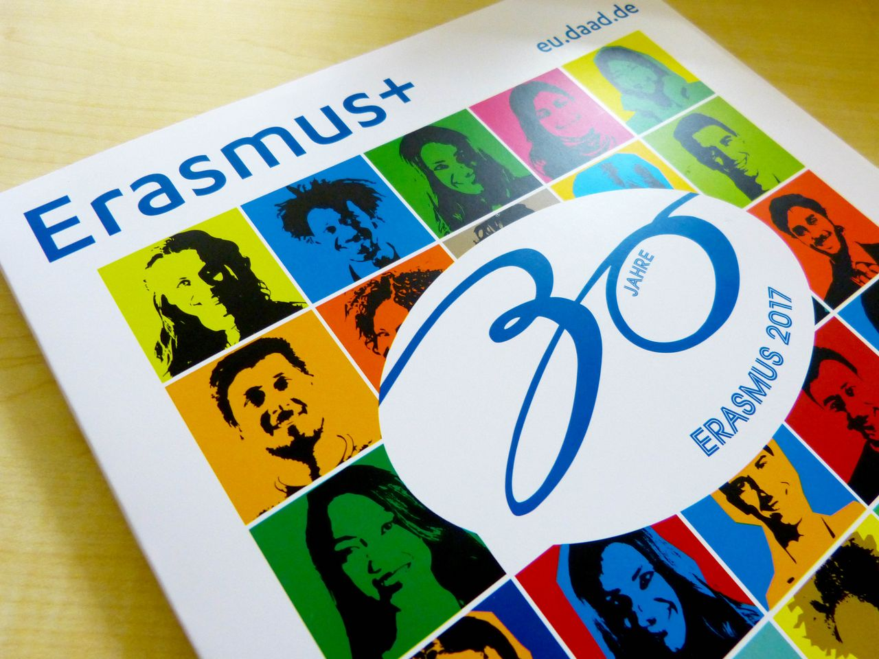 Cover of the booklet to the 30th anniversary of ERASMUS+