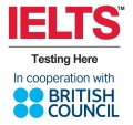 Kombinierte Logos: HTWK, IELTS, British Council